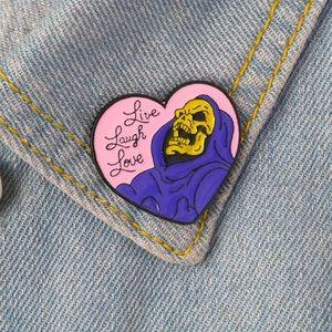 "🆕 Heart Shape Skeleton ""Live Laughs Love"" Pin"